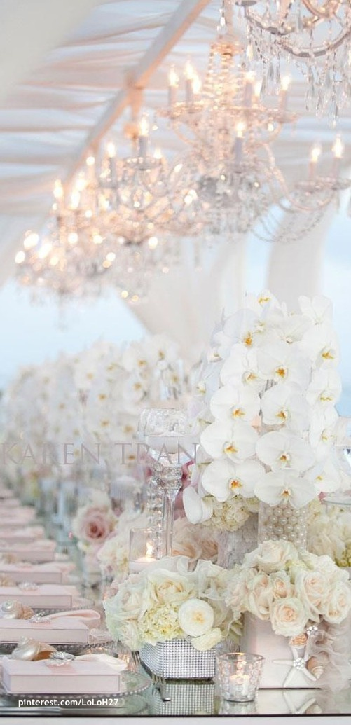 White this to me is soooooo elegant and dreamy, for winter wonder land or a formal summer table scape.