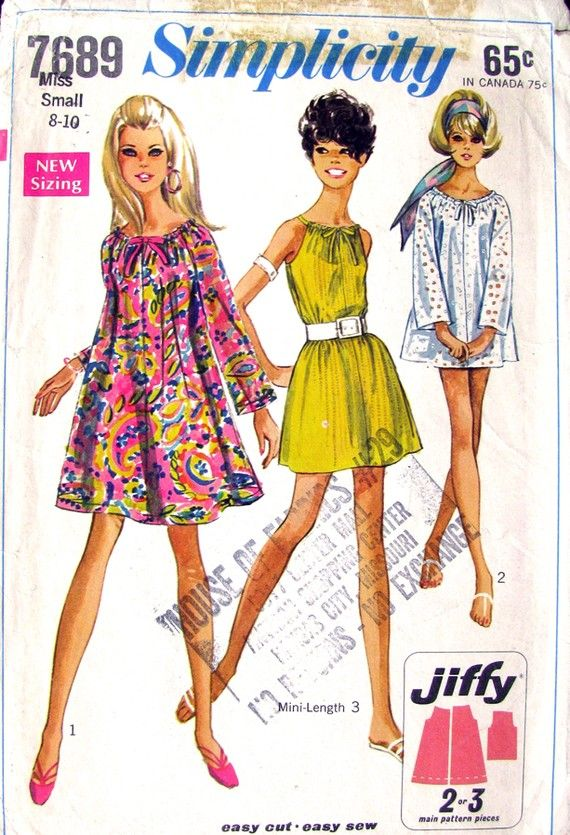 Vintage 60s Mod Tent Dress & Top Pattern Simplicity 7689 Drawstring Neckline- Bust 31 to 33