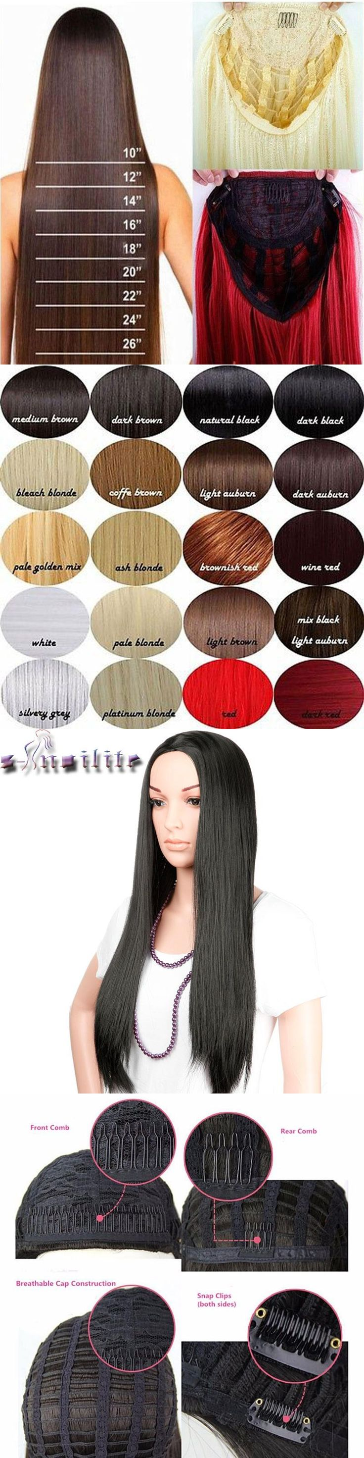 """S-noilite Heat Resistant Half Wig 25"""" Natural Long Women Straight 3/4 Full Head Wigs Party Black Brown Blonde Synthetic Hair"""