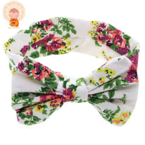 Baby Girl Floral Bow Tie Headband - White