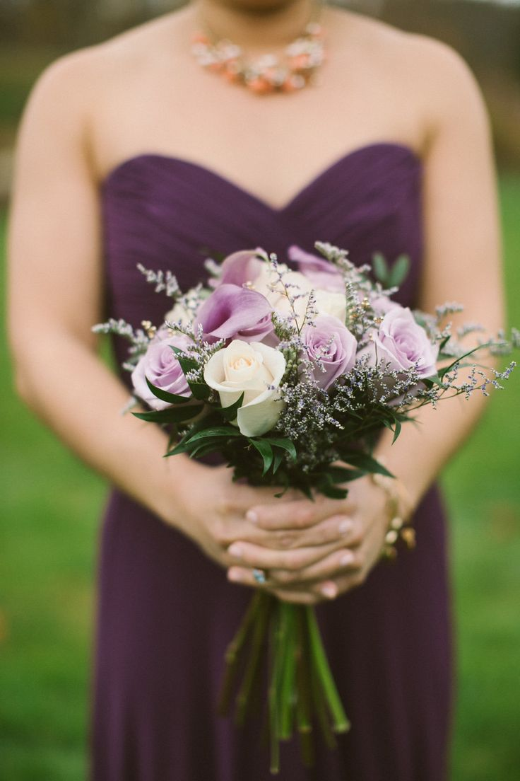plum #bridesmaid dress Photography: Zac Wolf Photography - www.zacxwolf.com  Read More: http://www.stylemepretty.com/new-england-weddings/2014/04/11/rustic-fall-new-england-wedding/