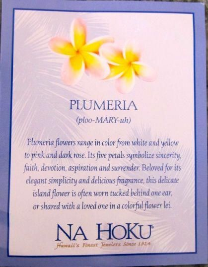 baf8f8134 This card came with my Plumeria necklace from Na Hoku the fellas bought for  me in