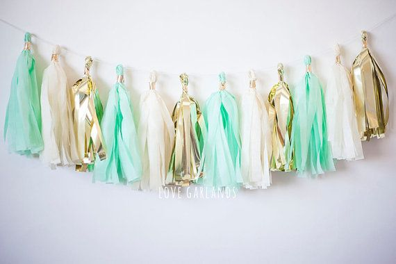 Ivory, Gold, Mint tassel for dessert table