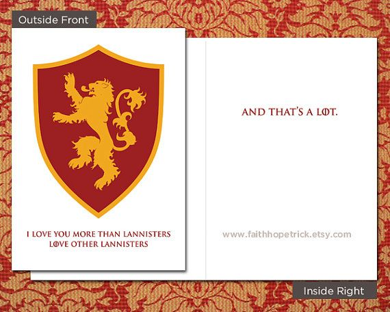 game of thrones lannister card valentine's day 5x7 inch