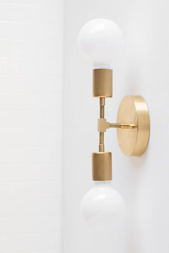 Gold wall sconce modern wall lamp industrial light bare