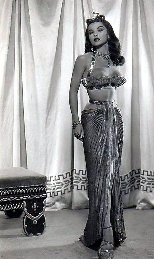 "Wow! Pin Up girl bombshell showgirl egyptian film costume wardrobe dramatic glamorous skirt balconette bra top Debra Paget in ""The Ten Commandments"" (1956)."