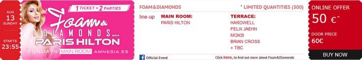 #Order your #tickets for 08.13.17 #DJ @ParisHilton's #FoamAndDiamonds #SexySunday #Party; the world's premiere #Ibiza #experience! @amnesiaibiza @billboarddance @whiteibiza #Actress #AmnesiaIbiza #Billboard #CashMoneyRecords #Dance #DJMagTop100 #DJParisHilton #EDM #ElectroHouse #Electronic #FoamAndDiamonds2017 #House #Ibiza #LittleHiltons #Model #Music #Musician #ParisHilton #PDiamond #ProgressiveHouse #Remixes #Top100DJ #TechTrance #Trance #TropicalHouse #YMCMB www.parishilton.com