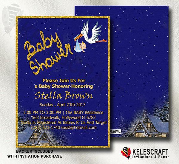 Navy Baby Shower Invite It's A Boy Printable Oh Baby Shower Invite Ready Made Printed Baby Shower Invitation Golden  Dots Golden Frame by KelesCraft on Etsy