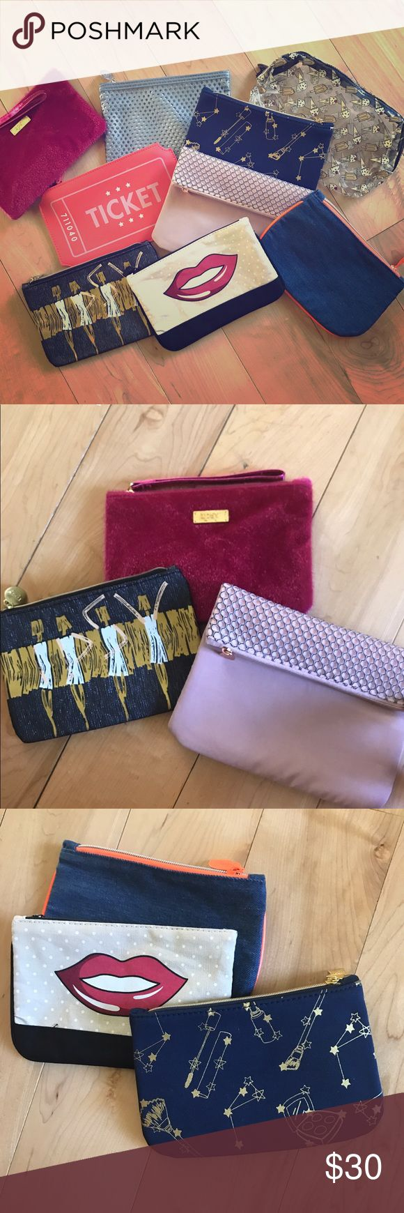 """Ipsy Glam Bags Nine Ipsy Glam bags for sale-- bags only. Buy all nine for $30, mix and match 3 for $12 or buy one for $5. Most are about 7"""" x 5"""". Happy to answer questions on specific bags Ipsy Bags"""