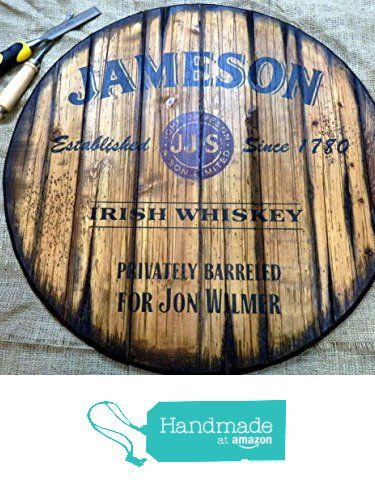 Personalized whiskey barrel top | Handpainted Jameson artwork and your additional message on a distressed wood sign | Rustic wall decor from Woodcraft City https://www.amazon.com/dp/B01CFYMRPO/ref=hnd_sw_r_pi_dp_uSj.wbBDAV1B7 #handmadeatamazon