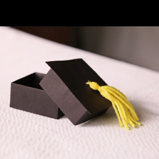 What a cute box to put a small gift in for the grad