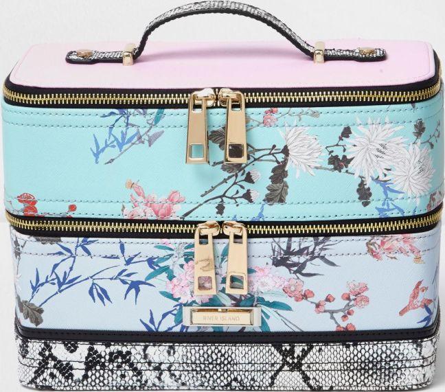•Website: http://www.cuteandstylishbags.com/portfolio/river-island-blue-floral-print-vanity-case/ •Bag: River Island Blue Floral Print Vanity Case