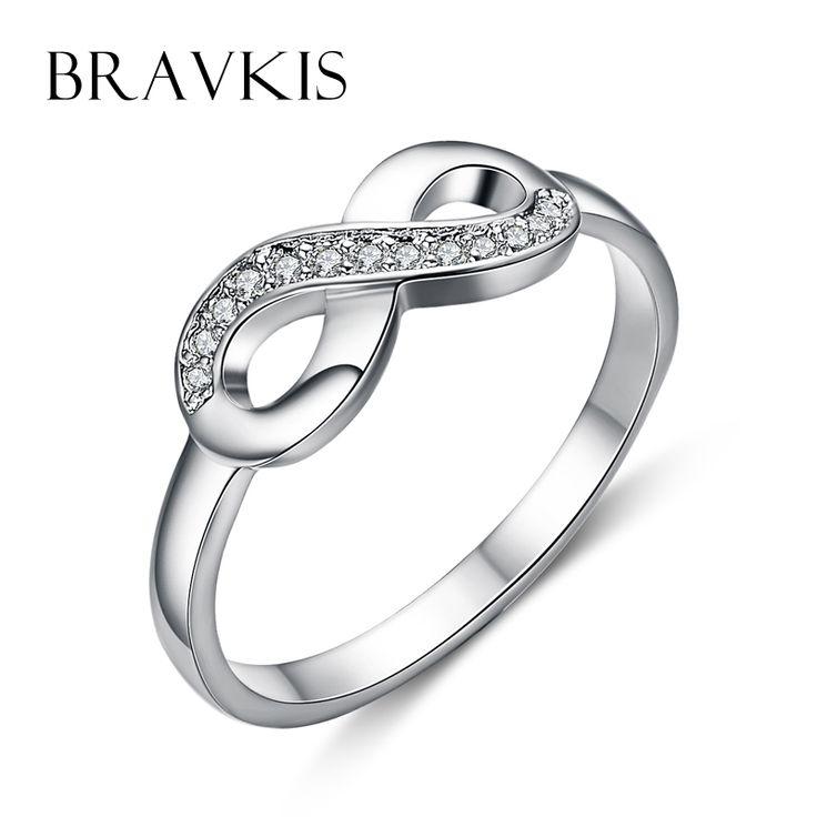 BRAVKIS fashion 2016 infinity <b>rings</b> crystal cz bowknot engagement ...