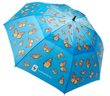 "Donate to WWF in support of our global conservation efforts and select this golf umbrella as a thank-you gift. Featuring a swarm of monarch butterflies, this umbrella measures 60"" in diameter and serves as a reminder of the species around the world that you are helping to save. Monarch Butterfly Golf Umbrella"