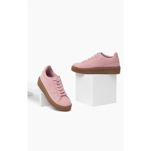 Ružová športová obuv pre dámy s hrubou podrážkou - fashionday.eu