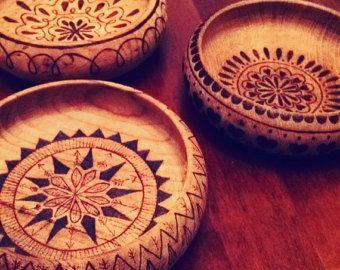 Sole luna e stelle piatto trinket ciotola di legno naturale