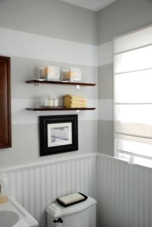 bathroom wall= white grey stripes + furnishings a la restoration hardware