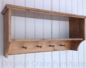 Hat & coat rack with shelf. Wall mounted solid wood display shelves with wooden peg board for hall kitchen bathroom or bedroom
