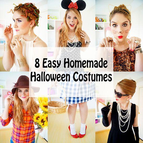 8 Easy Homemade Halloween Costumes -- Tutorials on the blog!