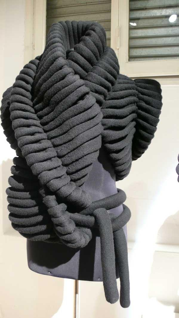 Sculptural knitwear with chunky textures & twisted shape; textile manipulation; creative fashion // Sandra Backlund