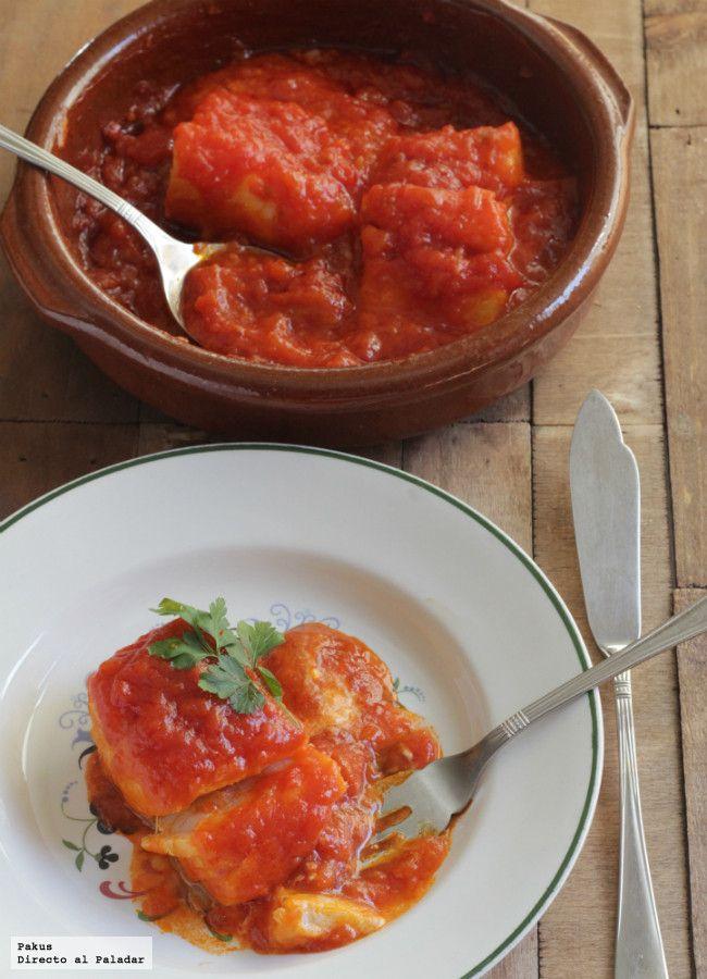 Receta de bacalao con tomate. Receta de pescado con fotos paso a paso de su elaboración y presentación. Trucos para confitar bacalao. Receta de semana santa
