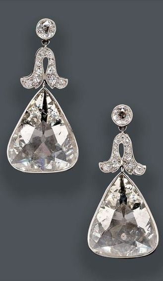Fine Pair of Edwardian Platinum and Diamond Earpendants, Cartier, New York