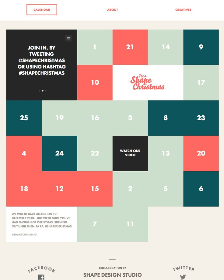 Interactive flat design advent calendar.