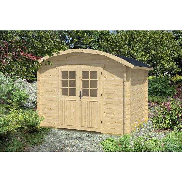 KLAIR Log Cabin  The Klair Log Cabin is very different to other log cabins as it has a unique curved roof with a small front canopy.  The Klair Log cabin is an excellent alternative to a traditional garden shed. It features a curved roof and double half glazed doors and is ideal for storing a variety of gardening accessories from tools to outdoor toys. This log cabin provides valuable storage space all year round.