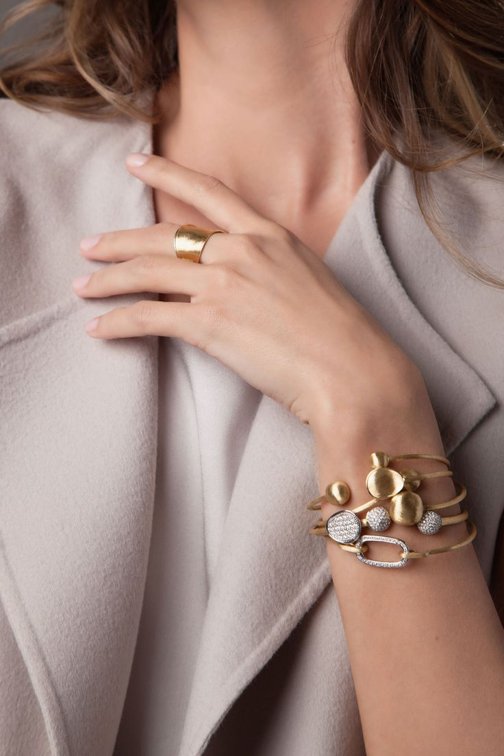 Love to Layer our Marco Bicego Lunaria and Africa Bangles. www.marcobicego.com