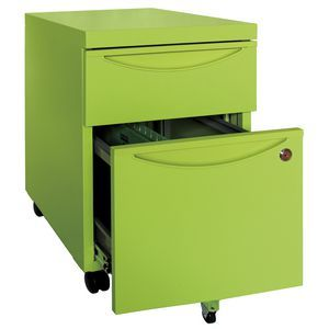 Inabox Steelrix 2 Drawer Mobile Pedestal Green