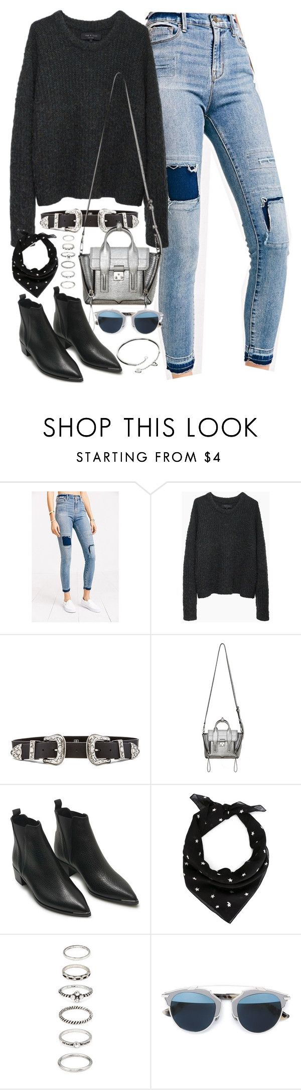 """Outfit with patchwork jeans and boots"" by ferned ❤ liked on Polyvore featuring BDG, rag & bone, B-Low the Belt, 3.1 Phillip Lim, Acne Studios, Yves Saint Laurent, Forever 21, Christian Dior and Cartier"
