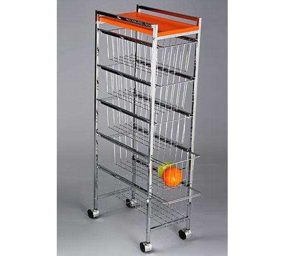 Carro de cocina de cinco cajones en color naranja - Cocinas color naranja ...