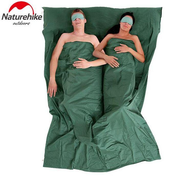 Naturehike viajes ultraligero portátil al aire libre saco de dormir doble forro 100% algodón saludables camping senderismo sacos de dormir(China (Mainland))