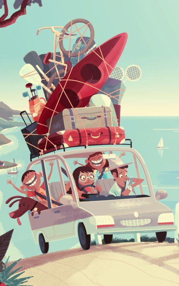 HEALTHY LIVING/LIFESTYLE > Holidays AS - ¿Cómo eran (o como son) las vacaciones en familia? [Ilustración de Steve Scott.]