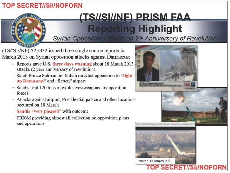 """Wie aus einem am Dienstag von The Intercept veröffentlichten NSA-Dokument hervorgeht, hat Saudi-Arabien eine am 18. März 2013 erfolgte Attacke der """"Freien Syrischen Armee"""" auf Damaskus befehligt. Demnach wollte Riad die syrische Hauptstadt brennen sehen."""