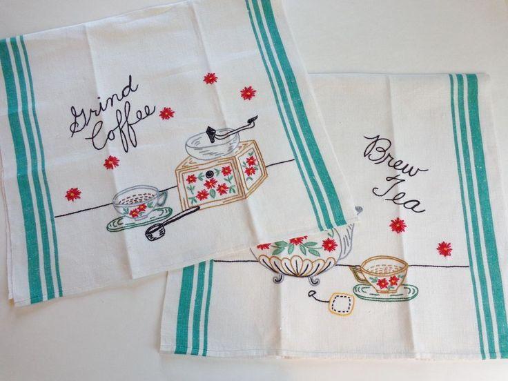 Tea Towels Vintage 1930u0027s Embroidery Coffee Tea