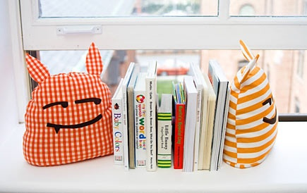 """sewing project for Chase and Boy S's room. """"Monster"""" bookends."""