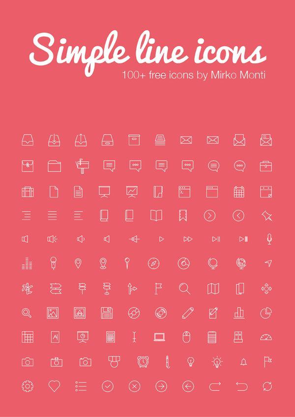 100 Free Simple Line Icons by Mirko Monti #freebie #icons