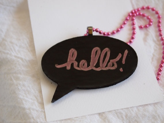 Chalk Speech Bubble Necklace handmade Write your own by tlgcrafts, $14.95
