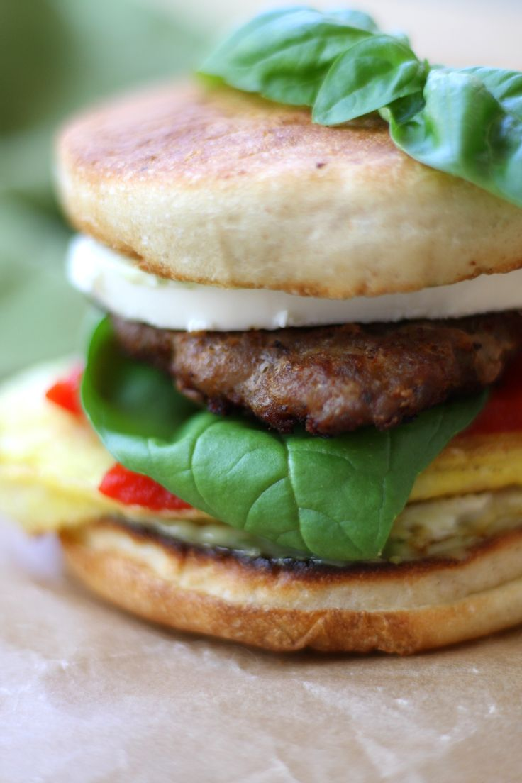 Italian Sausage Breakfast Sandwiches recipe has pesto mayo, creamy mozzarella and homemade Italian sausage. Mornings just became a little more fun. http://www.thefedupfoodie.com