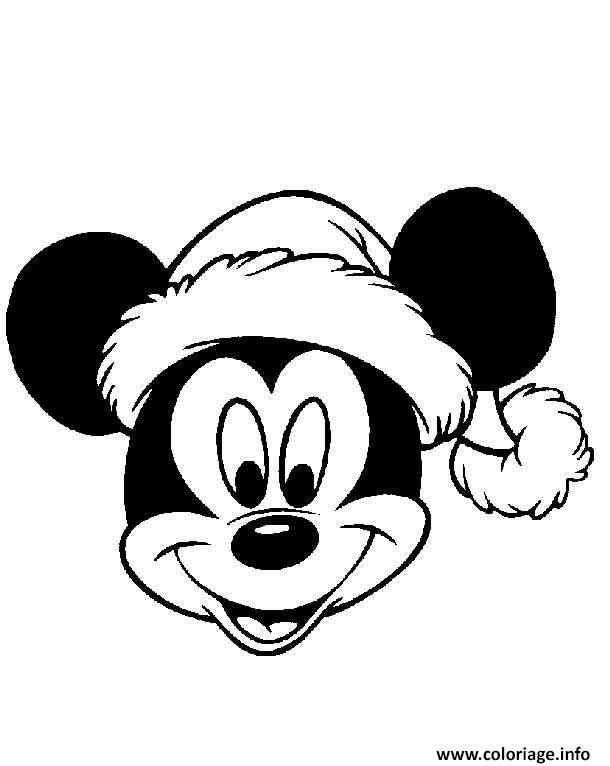 Coloriage Mickey Mouse Disney Noel 4 Dessin à Imprimer En