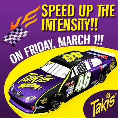 Feed your need for speed!! See the Takismobile in the NASCAR MEXICO TOYOTA SERIES 120!! – March 1, 7 p.m. MST at the Phoenix International Raceway #Takis