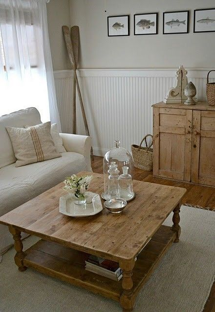 Cottage living room by pauline; white, cream, and rustic pine furniture; subdued color palette; beadboard