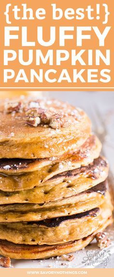 You know what fall is all about, right? Pumpkin of course! It's time to serve your family some homemade fluffy pumpkin pancakes for breakfast and enjoy them raving about your cooking skills for the rest of the day. No need to tell them how easy this pancake recipe is to make ;) The simple batter is made from scratch with flour, milk, eggs, oil, pumpkin spice and an entire cup of pumpkin puree. They are quick to whip up and you can serve them with any topping you like.