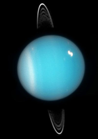 "Uranus is often said to have a retrograde rotation with its axis tilted 98°. Why don't we say it has a direct spin with the axis tilted 82°? Since 1982, the International Astronomical Union has defined the north pole of a planet to be the pole that lies north of the ecliptic plane (the plane of the solar system). Uranus's ""north star"" happens to be Eta Ophiuchi, which is about …"