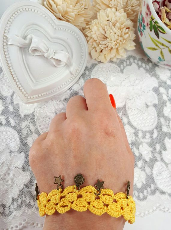 Yellow crochet bracelet crochet jewelry with charms fabric