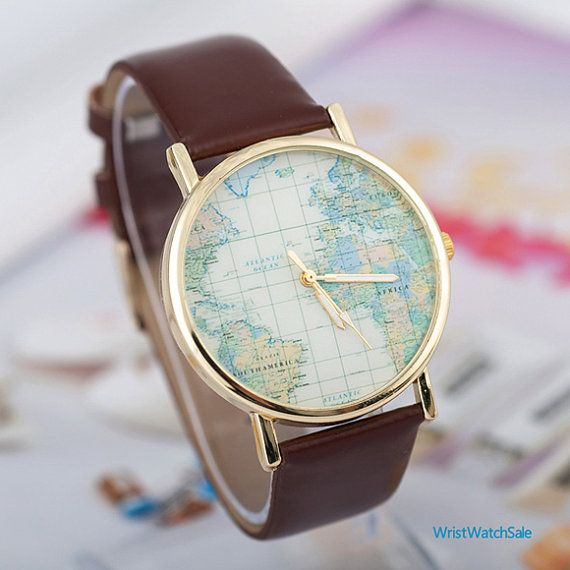 2014 NEW,World Map Watch, Unisex Watch, Leather Watch ,World Map Watch Mens wrist watches Women Watches Christmas Gift,best sales (WRY045