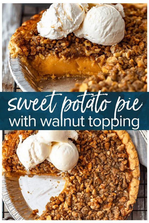 Sweet Potato Pie with Walnut Topping (Dengan gambar)