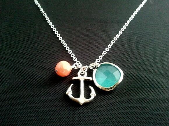 Hot Summer Anchor Necklace - Everyday Jewelry, Beach Wedding, Bridal, Tropical, Hawaiian, Beach Jewelry. $22.00, via Etsy.