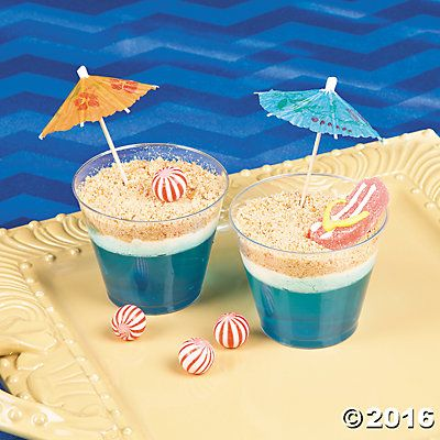 "Beach party food - ""beach pudding cups"" made with jelly, wafers and cream. yum!!"